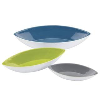 Dansk Burbs Decal Blue Canoe Bowls (Set of 3)