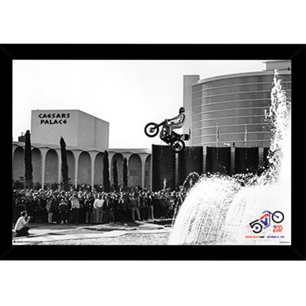 Evel Knievel Caesars Palace Jump Black Wood 24-inch x 36-inch Framed Print