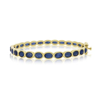30 Carat Blue Sapphire Bangle Bracelet In 14K Yellow Gold Over Silver