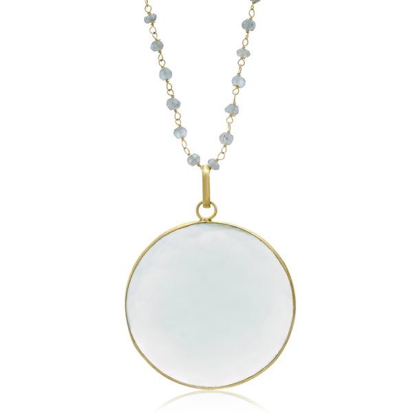67 Carat Green Chalcedony Disc Necklace In 14K Yellow Gold, 29 Inches