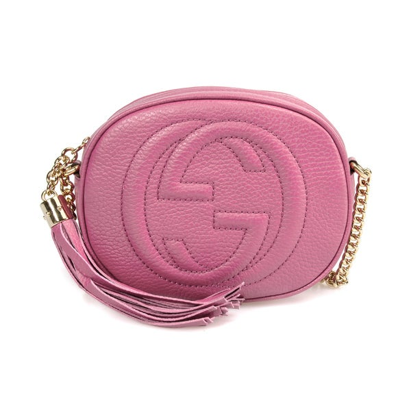 Gucci Soho Leather Mini Chain Bag in Pink w/ Light Gold Hardware