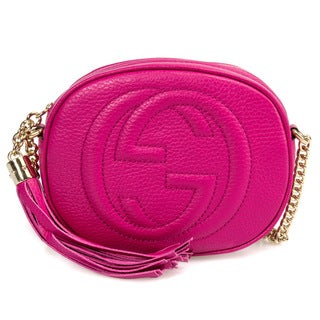 Gucci Soho Leather Mini Chain Bag in Fuchsia with Light Gold Hardware