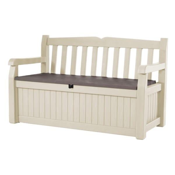 Keter Eden All Weather Outdoor Patio Bench Deck Box Furniture 70 Gal, Beige / Brown