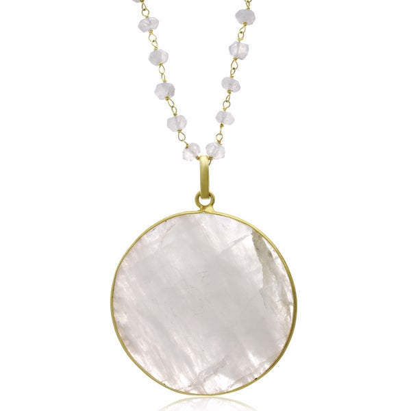 67 Carat Moonstone Disc Necklace In 14K Yellow Gold, 29 Inches