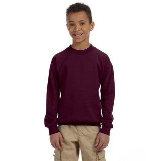 Gildan Boys' Maroon Cotton/Polyester Heavy Blend Crew Neck Sweatshirt
