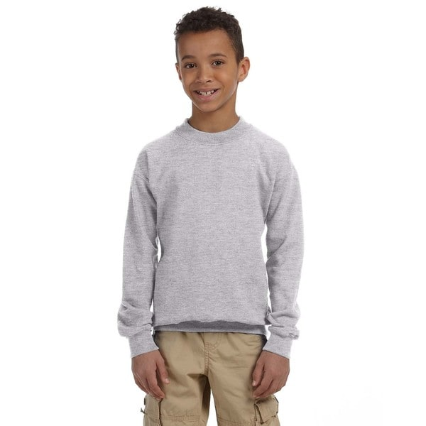 Heavy Blend Boy's Sport Grey Crew-neck Sweatshirt