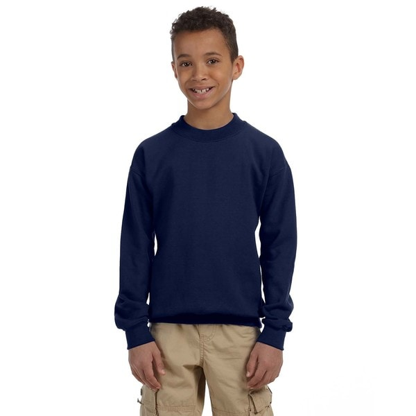 Heavy Blend Boy's Navy Cotton/Polyester Crewneck Sweatshirt