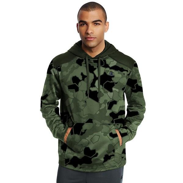 Champion Men's Blue, Green, Grey Polyester Print Pullover Hoodie Sweatshirt