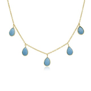 4 Carat Turquoise Multi Drop Necklace In 14K Yellow Gold, 18 Inches