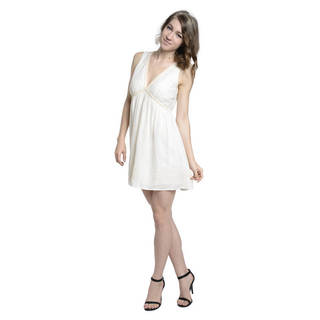 Romeo + Juliet Women's Couture Sleeveless Embroidered Woven V-neck Dress