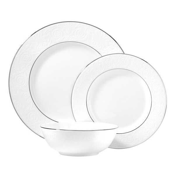 Lenox Artemis White/Silver China 3-piece Boxed Place Setting