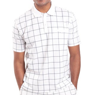 Steve Harvey Collection Men's Cotton and Polyester Plaid Polo Shirt