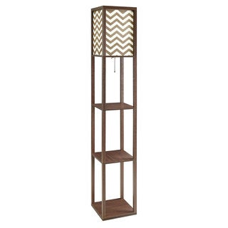 Coaster Brown Wood Floor Lamp with Chevron Shade and Three Shelves