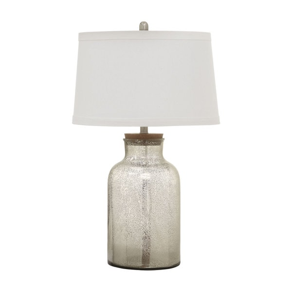 Coaster Antique Mercury Speckled Bottle-shaped Lamp With White Shade