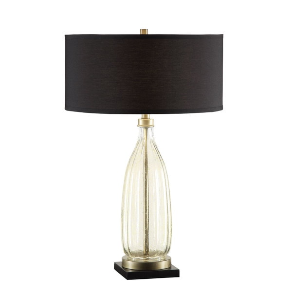 Coaster Antique Speckle Glass Lamp With Black Drum Shade