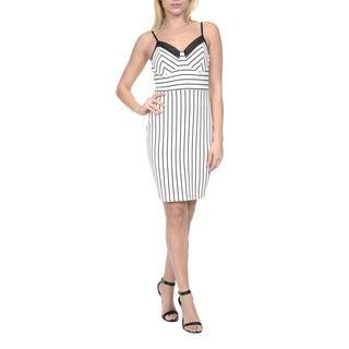 Romeo & Juliet Couture Women's White Polyester/Spandex Sleeveless Striped Sundress