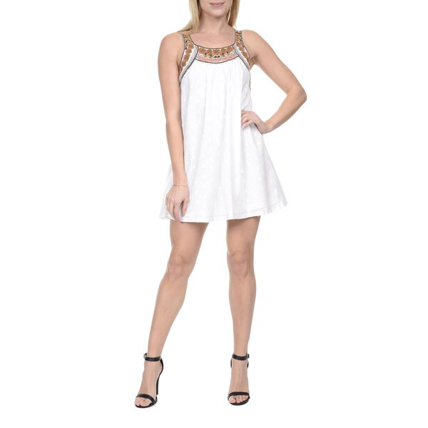 Romeo & Juliet Couture Women's White Cotton Sleeveless Tunic Dress