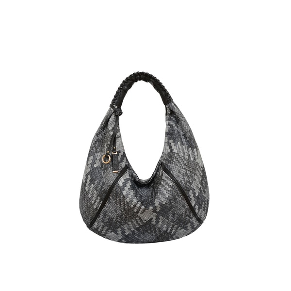 Mellow World Firework Grey Faux Leather Lattice Hobo Handbag