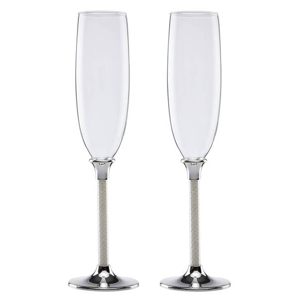 Lenox Jubilee Pearl Silver-plated/Glass New Toasting Flute (Set of 2)