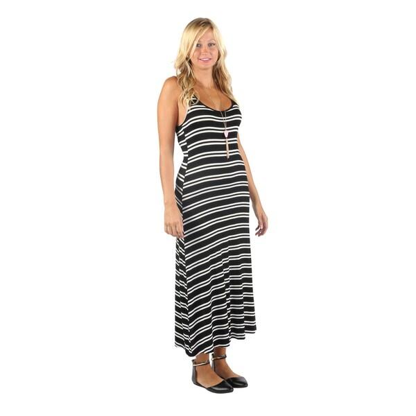 Hadari Womens Summer Ready Sleeveless Mid Round Neckline White Stripe Maxi Dress