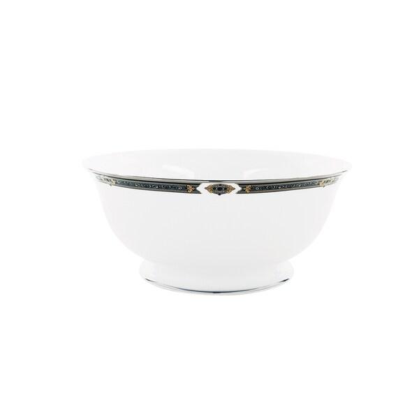 Lenox Vintage Jewel Blue/White Ceramic/24k Gold Serving Bowl