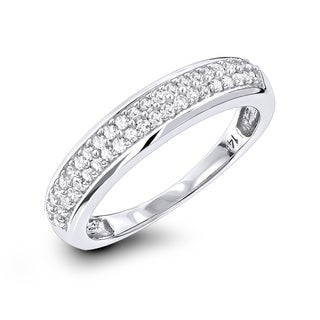 Luxurman 14k White Gold 1/3ct TDW 2-row Diamond Wedding Band (G-H, SI1-SI2)
