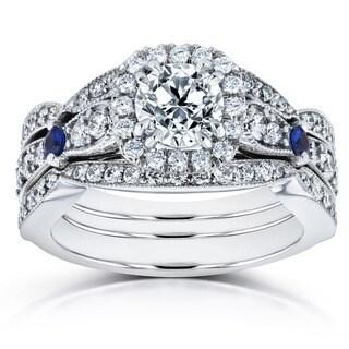 Annello 14k White Gold Blue Sapphire and 1 4/5ct TDW Diamond Halo Three Piece Bridal Set (H-I, I1-I2)