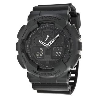 Casio Men's GA-100-1A1CR 'G-Shock' Analog-Digital Chronograph Black Resin Watch