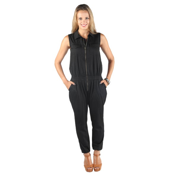 Wing Collar Zip Up Sleeveless Straight Pant Black Jumpsuit With Elastic Waistband