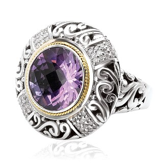 Avanti Sterling Silver and 18k Yellow Gold 1/4ct TDW Diamond and Amethyst Ring (I-J, I1-I2)
