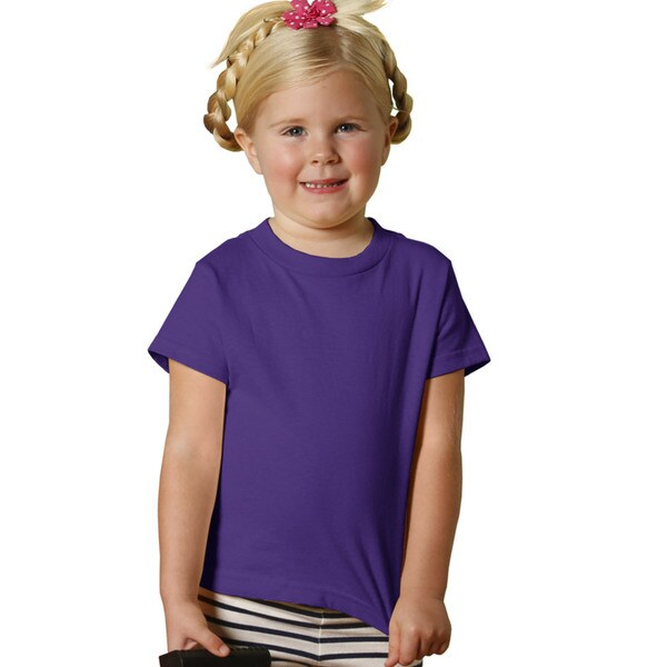 Girls' Purple Cotton 5.5-ounce Jersey Short-sleeve T-shirt