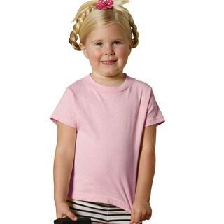 Children's 5.5-ounce Jersey Pink Cotton/Polyester Short-sleeve T-shirt