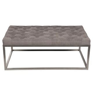 Contemporary Grey Tufted Canvas Metal Frame Ottoman/Bench