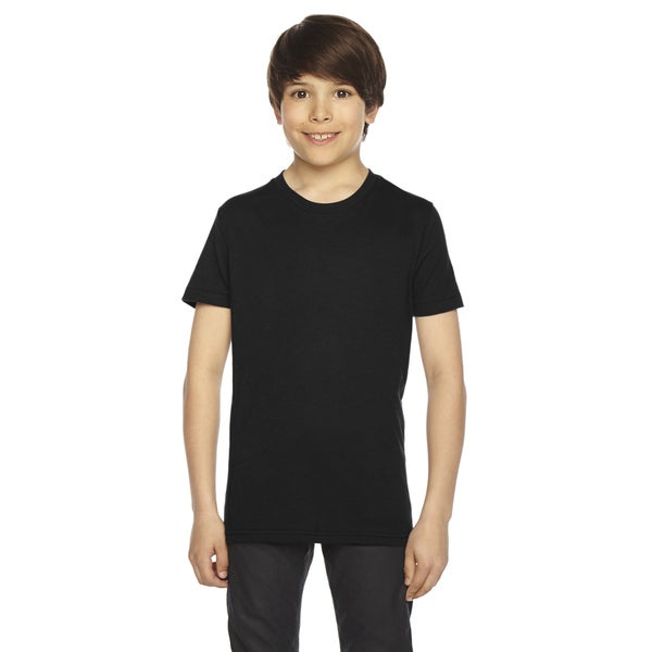 American Apparel Boys' Black 50/50 Poly/Cotton Short-sleeved T-shirt