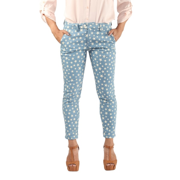 Hadari Womens Slimfit Star Print Blue Denim Skinny Leg Ankle Length Pants