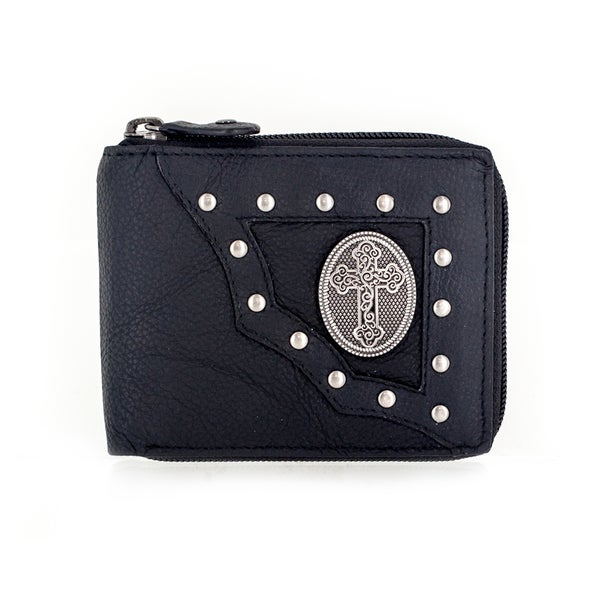 Faddism YAALI Series Men's Black Leather Cross Symbol Emblem Studded Bifold Wallet