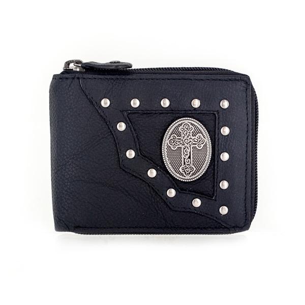Faddism YAALI Series Men's Black Leather Cross Symbol Emblem Studded Bifold Wallet