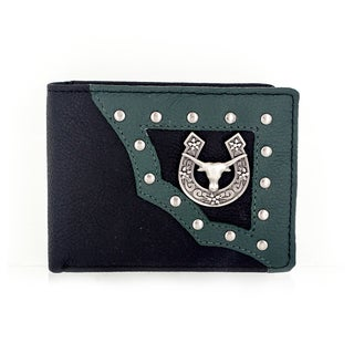 Faddism YAALI Series Men's Genuine Leather Bull Head and Horse Shoe Emblem Studded Bi-fold Wallet