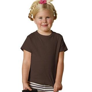Girls' Brown Cotton Jersey Short Sleeve T-shirt