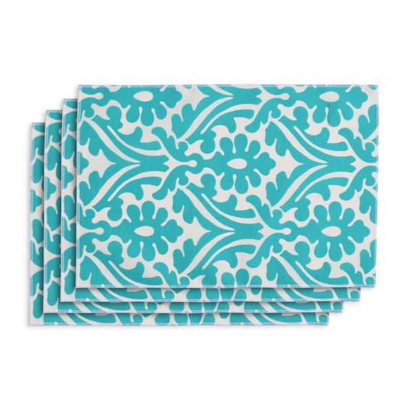 Holly Ocean Blue/White Polyester Placemats (Set of 4)