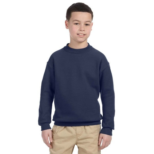 Super Sweats Boys' Navy Cotton and Polyester Crew Neck Sweatshirt