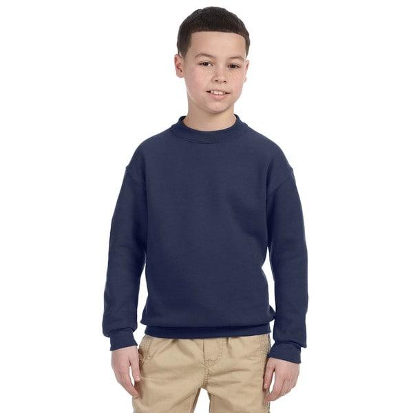 Super Sweats Boys' Navy Cotton and Polyester Crew Neck Sweatshirt