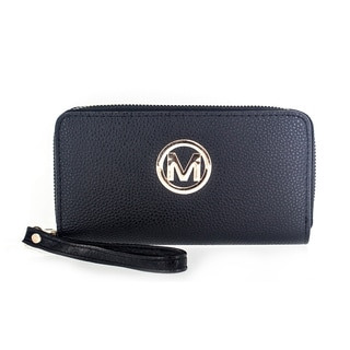Faddism Women's Genuine Leather Circle 'M' Emblem Dual Zip-around Clutch Wallet