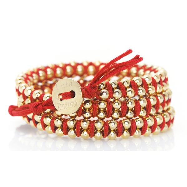 Gold Overlay Woven Triple Wrap Red Bracelet