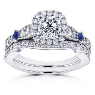 Annello 14k White Gold Blue Sapphire and 1 5/8ct TDW Diamond Halo Antique Two Piece Bridal Set (H-I, I1-I2)