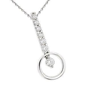 Luxurman 14k White Gold 3/5ct TDW Diamond Journey Circle Pendant (G-H, SI1-SI2)