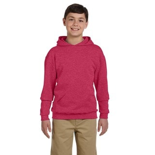Nublend Boy's Vintage Heather Red Cotton and Polyester Hooded Pullover Sweatshirt