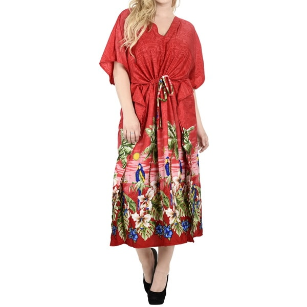 La Leela Women's Red Smooth Likre Kimono Kaftan Maxi 2 in 1 Nightgown/Dress