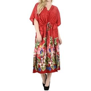 La Leela Women's Red Smooth Likre Kimono Kaftan Maxi 2 in 1 Nightgown/Dress