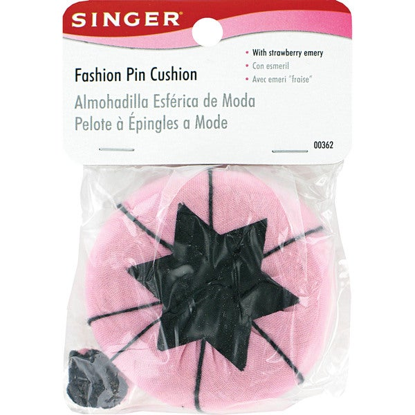 Singer 00362 Pink & Black Fashion Pin Cushions With Strawberry Emery